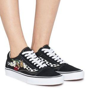 Vans OLD SKOOL SKATE Shoes Checker Floral Black